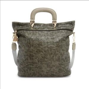 Boutique- Pink Haley Gray Flathandle Fashion Tote